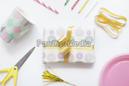 studio shot of wrapped birthday present