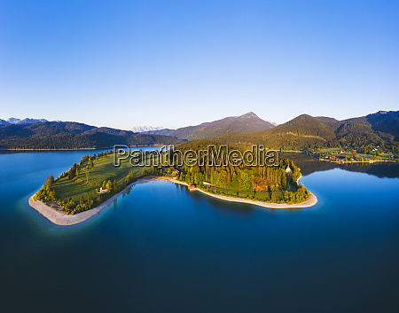 germany bavaria aerial view ofzwergernpeninsula at