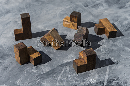 pieces of wooden puzzle