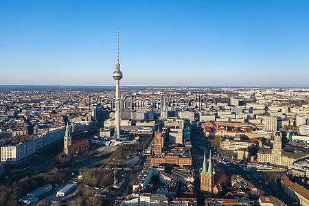 germany berlin aerial view of fernsehturm