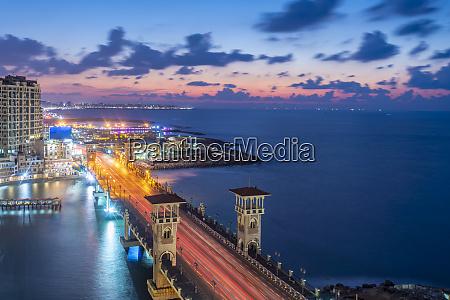 egypt alexandria stanley bridge at dusk
