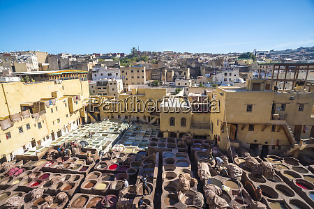 morocco fez chouaratannery and view of