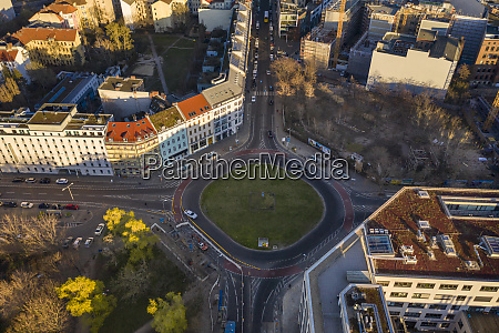 germany berlin aerial view of roundabout