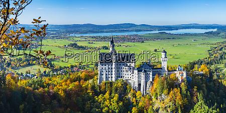 germany bavaria hohenschwangau panorama ofneuschwansteincastle in