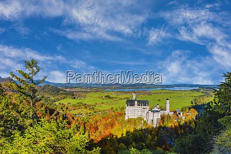 germany bavaria hohenschwangau sky overneuschwansteincastle in
