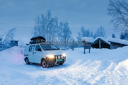camper van at rest area with