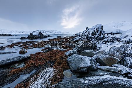 coastal landscape with rocks in winter