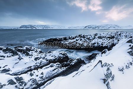 coastal landscape in winter berlevag norway