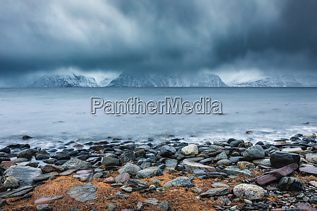 cloudy atmosphere at the coast in