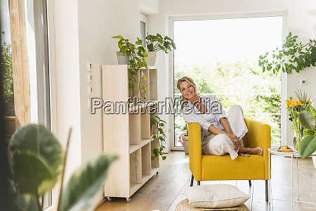 portrait of smiling mature woman relaxing