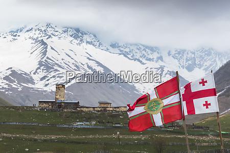 georgia svaneti ushguli georgian flags fluttering