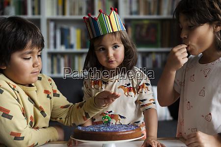 portrait of little girl celebrating birthday