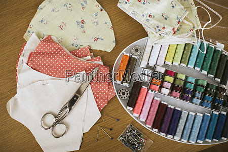 close up of sewing items with