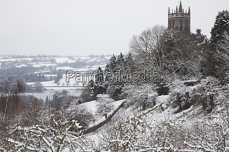 a wintry snow bound view of
