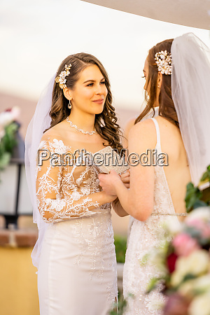 bride exchanging vows corona california united