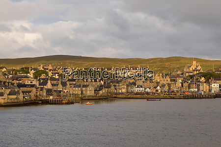 lerwick elevated view from the sea