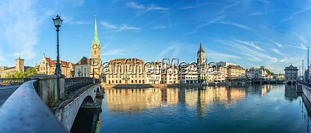 panoramic of fraumunster church and limmat