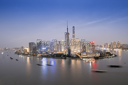 the illuminated skyline of pudong district