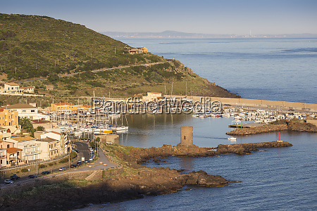 view towards marina castelsardo sassari province