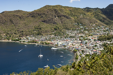 town of soufriere caribbean island of
