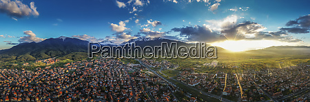aerial view by drone of bansko
