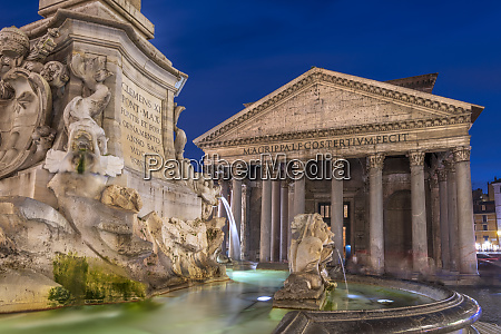the pantheon and fountain at night