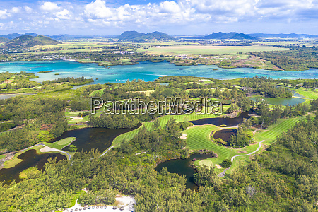 aerial by drone of golf courses
