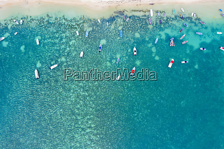 aerial by drone of boats in