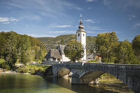 san giovanni church lake bohinj triglav