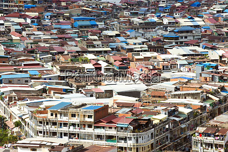 colorful rooftops of phnom penh capital