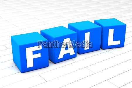 3d illustration of the word fail