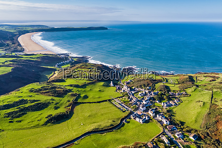 aerial view over mortehoe and woolacombe