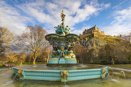ross fountain and edinburgh castle west