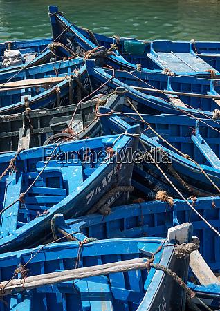 blue boats bow to bow essaouira
