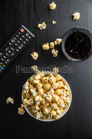 sweet tasty popcorn in bowl and