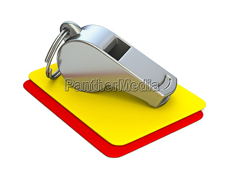 metal whistle yellow and red card