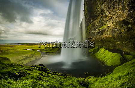 view of a rushing waterfall taken