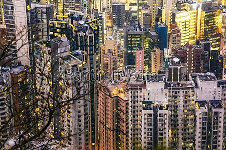 crammed hong kong apartment blocks at