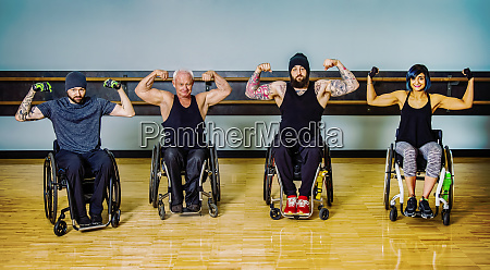 a group of paraplegic friends fooling