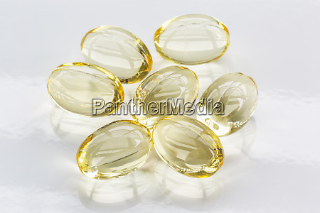 gel capsules on a white background