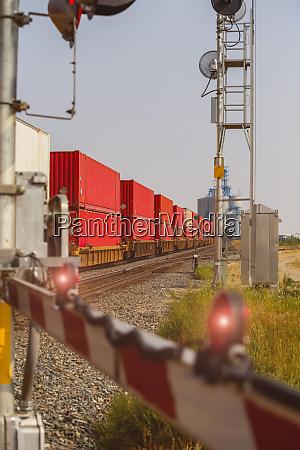 a freight train going through a