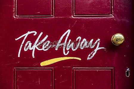 sign for take away food on