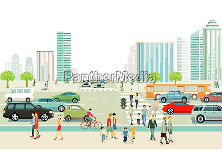 big city with traffic pedestrians and