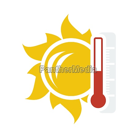 sun and thermometer with high temperature