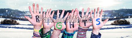 children hands building word rights snowy