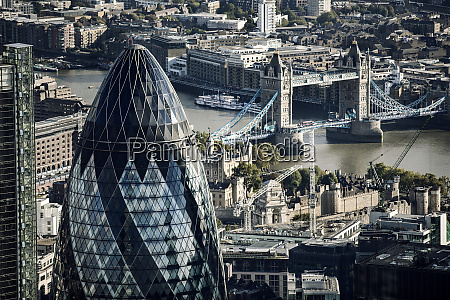 aerial view of the gherkin office