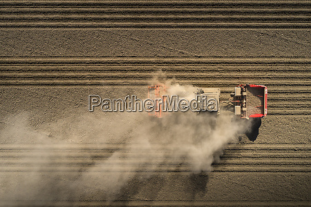 aerial view of tractor blowing up