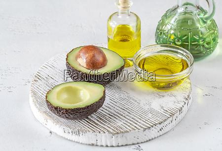 fresh avocado with avocado oil