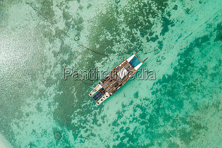 aerial view of sailboat moored in