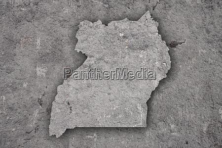 map of uganda on weathered concrete